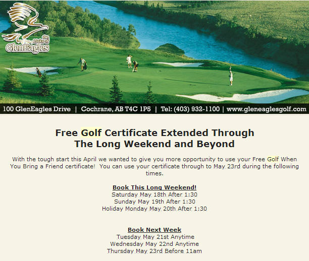The Links of GlenEagles Free Golf Certificate Extended until May 23