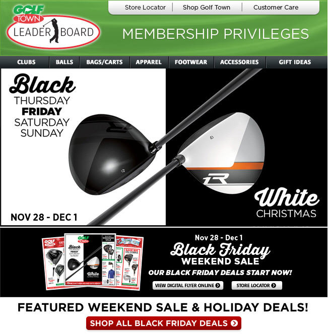 Golf town black friday holiday deals start now nov 28 for Las vegas hotels black friday deals