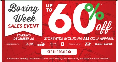 Golf Town Boxing Week Sales Event - Save up to 60 Off (Dec 26 - Jan 4)