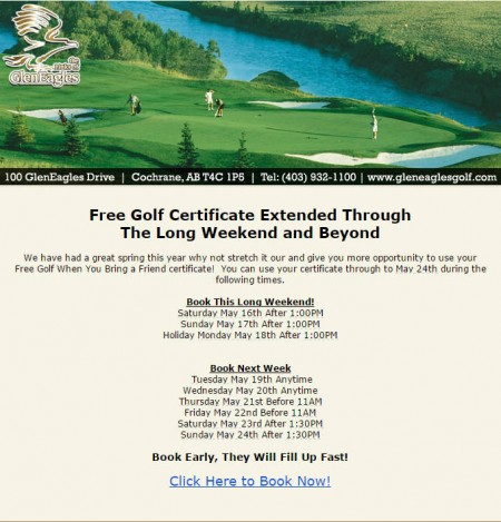 The Links of GlenEagles Free Golf Certificate Extended through the Long Weekend and Beyond (Until May 24)