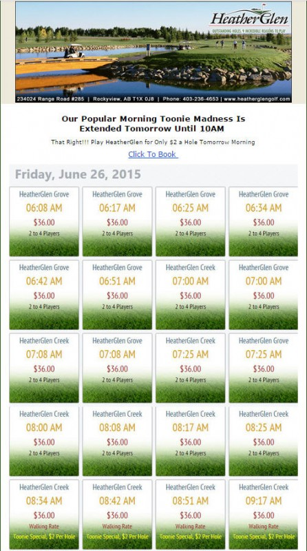 HeatherGlen Golf Course Toonie Madness - $2 a Hole (June 26, until 10am)