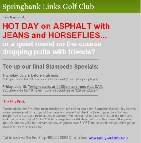 Springbank Links Golf Course Stampede Special - Save up to 35 Off Green Fee (July 9-10)