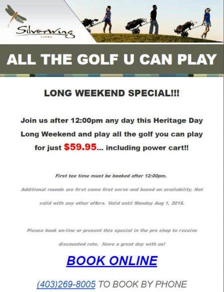 Silverwing Links Long Weekend Special - $59.95 for All The Golf You Can Play (July 30 - Aug 1)