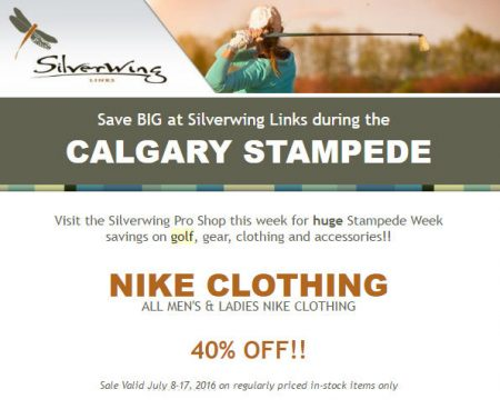 Silverwing Links Stampede Special - 40 Off Nike Clothing (July 8-17)