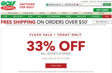 Golf Town Flash Sale - 33 Off All Shoes & Bags (Sept 4)